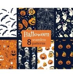 Fun Helloween Pumpkins Skeleton Ghost Nine vector image