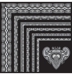 Grey set of seamless ornamental floral stripes vector