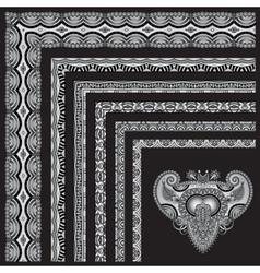 grey set of seamless ornamental floral stripes vector image