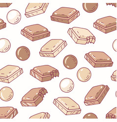 Hand drawn seamless pattern with chocolate vector
