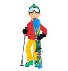 Happy skier holding skis and poles standing vector