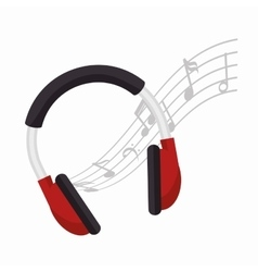 headphones note music icon design vector image