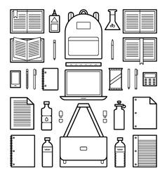 Icons school supplies vector