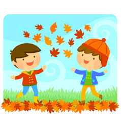 Kids enjoying autumn vector