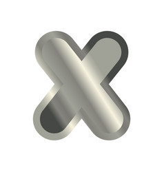 Letter x steel font metal alphabet sign iron abc vector