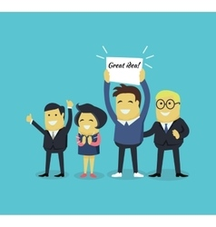 People with a Banner Great Idea vector image vector image