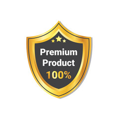 Premium product label golden shield seal isolated vector