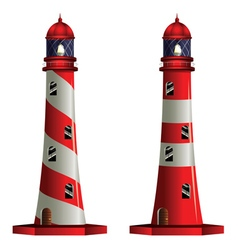 Red and White Lighthouse vector image