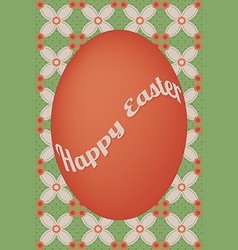 Red egg easter card on flower dot pattern vector image