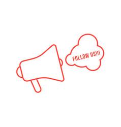 Red thin line megaphone like display advertising vector