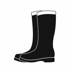 Rubber boots icon black simple style vector