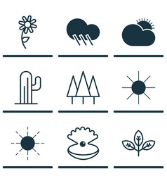 Set of 9 world icons includes sun sunflower vector