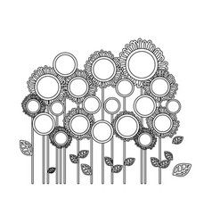 Silhouette flowers with leaves icon vector
