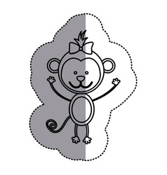 silhouette teddy monkey bow head vector image