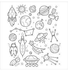 Space objects in handdrawn style vector