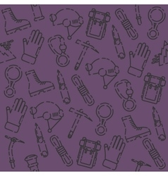 Speleologist set pattern vector