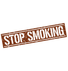 Stop smoking square grunge stamp vector