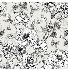 Summer Monochrome Vintage Floral Seamless Pattern vector image