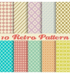 Ten retro different seamless patterns tiling vector