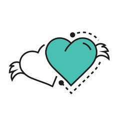 Two icon hearts wings blue vector