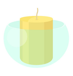White candle in the glass candlestick icon vector