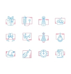 Winter celebration blue and red line icons vector
