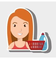 Woman cartoon basket detergent bottle vector