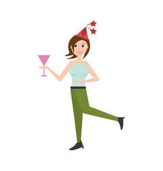 Woman celebrating cartoon vector