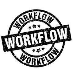 Workflow round grunge black stamp vector