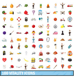 100 vitality icons set cartoon style vector