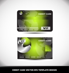 Green metal sphere vip credit card template vector