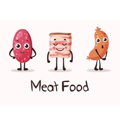 Cartoon meat food characters with smiley faces vector