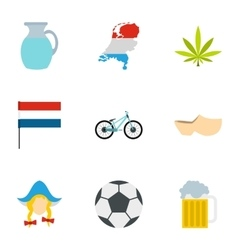 Holland icons set flat style vector