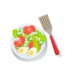 Salad With Eggs And Fresh Organic Vegetables vector image