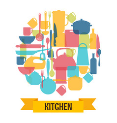 cooking utensils background kitchen and vector image