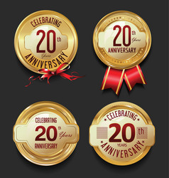 Anniversary retro golden labels collection 20 vector