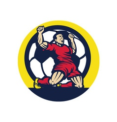 Soccer player celebrating a goal with ball vector image