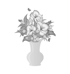 Abstract flowers in vase vector
