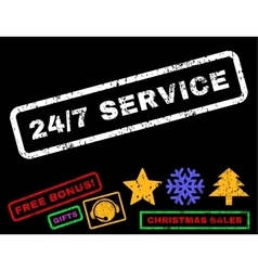 24-7 service rubber stamp vector