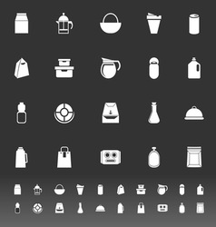 Variety food package icons on gray background vector