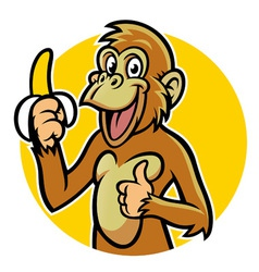 Smiling monkey with banana vector