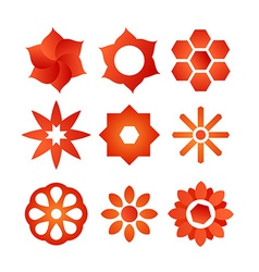 Set of style flowers vector