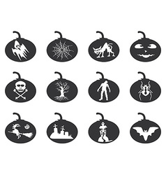 Halloween lantern icons set vector