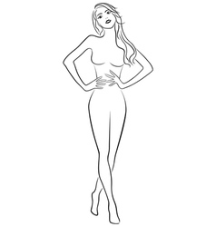 Slim girl holding hands on waistline vector