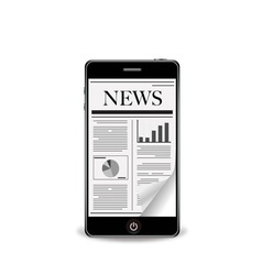 Reading newspaper with smart phone vector