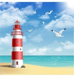 Lighthouse on the beach vector