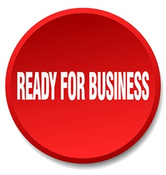Ready for business red round flat isolated push vector