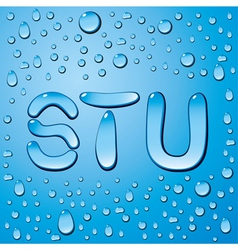 Water drop letters on blue vector