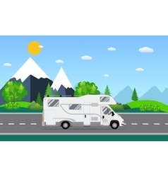 Family traveler truck driving on the road vector