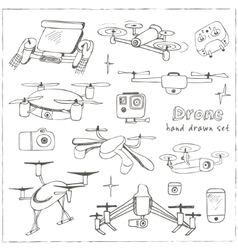 Hand drawn element drone and controller connecting vector
